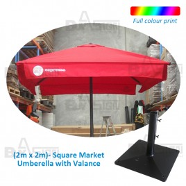 2M Square Cafe Umbrella with Valance, Logo Print NOT Included