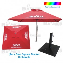 3M Square Cafe Umbrella, Logo Print NOT Included