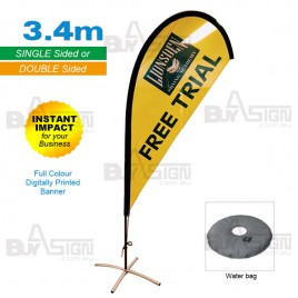 3.4M High Teardrop Flags with cross base
