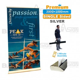 1000x2000mm SILVER, Premium Pull Up Banner with Graphic