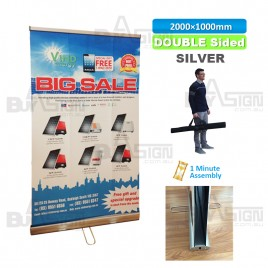 1000x2000mm SILVER, Standard Double Sided Roll Up Banners