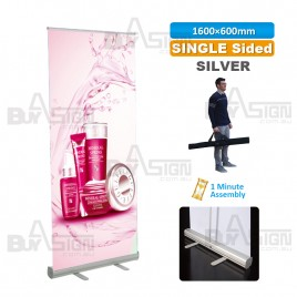 600x1600mm SILVER, Standard Pull Up Banner with Graphic