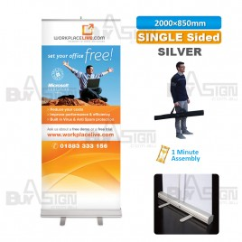 850x2000mm SILVER, Standard Pull Up Banner with Graphic